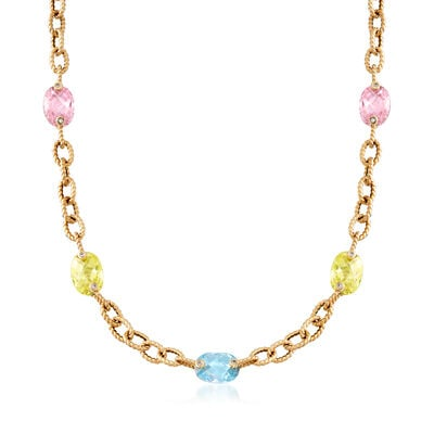 C. 2000 Vintage 40.30 ct. t.w. Multicolored CZ Station Link Necklace in 14kt Yellow Gold, , default