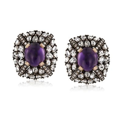 C. 1950 Vintage 7.20 ct. t.w. Amethyst and 7.40 ct. t.w. Diamond Earrings in 18kt White Gold