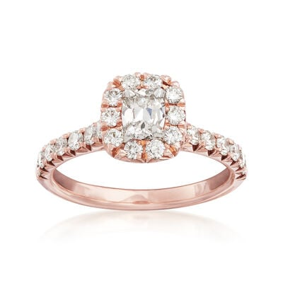 Henri Daussi 1.10 ct. t.w. Diamond Halo Engagement Ring in 18kt Rose Gold