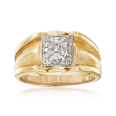 C. 1970 Vintage Men's .15 ct. t.w. Diamond Ring in 14kt Two-Tone Gold, , default