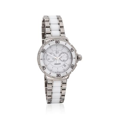 TAG Heuer Formula 1 Women's 41mm .44 ct. t.w. Diamond Watch in Stainless Steel and White Ceramic