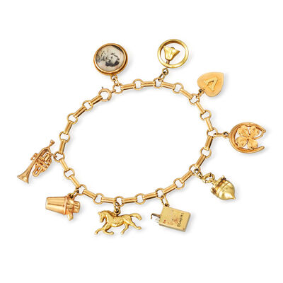 C. 1930 Vintage Multi-Charm Bracelet in 14kt Yellow Gold, , default
