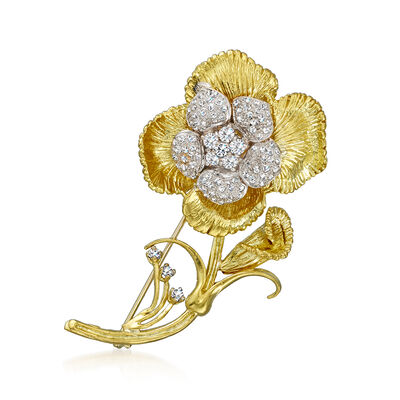 C. 1980 Vintage 1.30 ct. t.w. Diamond Flower Pin in 18kt Yellow Gold