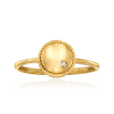 "Phillip Gavriel ""Italian Cable"" Roped-Edge Ring with Diamond Accent in 14kt Yellow Gold, , default"