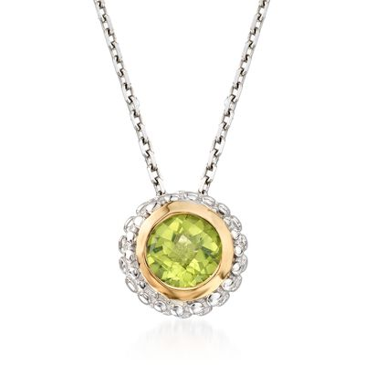 "Phillip Gavriel ""Popcorn"" .45 Carat Peridot Pendant Necklace in Sterling Silver and 18kt Gold"