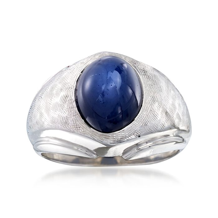 C. 1970 Vintage 4.90 Carat Synthetic Sapphire Dome Ring in 14kt White Gold. Size 6.5