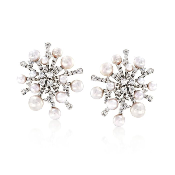 Mikimoto Splash 3-6.5mm A+ Akoya Pearl and 2.44 Carat Total Weight Diamond Earrings in 18-Karat White Gold