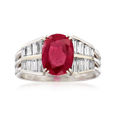 C. 1980 Vintage 2.20 Carat Ruby Ring with .80 ct. t.w. Diamonds in 18kt White Gold