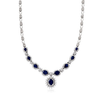 C. 1990 Vintage 8.15 ct. t.w. Sapphire and 3.30 ct. t.w. Diamond Necklace in 18kt White Gold