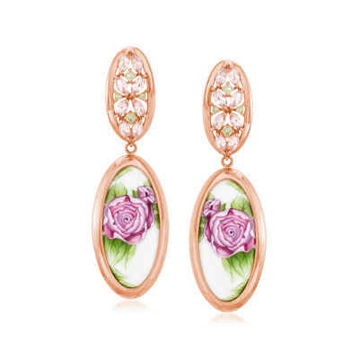 C. 1980 Vintage Painted Porcelain Floral Drop Earrings with 1.20 ct. t.w. Multi-Gemstones in 14kt Rose Gold