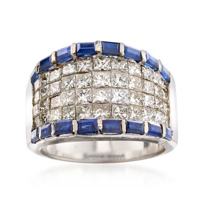 C. 1990 Vintage 2.70 ct. t.w. Diamond and 1.30 ct. t.w. Sapphire Ring in 18kt White Gold, , default