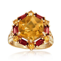 C. 1970 Vintage 1.10 ct. t.w. Citrine and .90 ct. t.w. Garnet Ring in 10kt Yellow Gold, , default