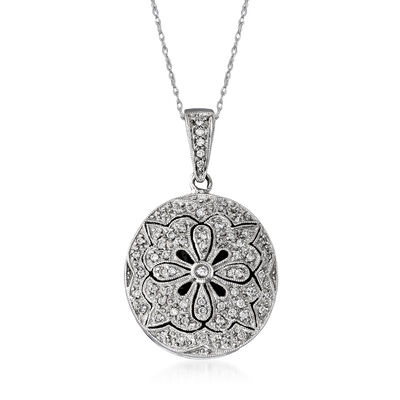 C. 2000 Vintage .50 ct. t.w. Diamond Filigree Locket Pendant Necklace in 14kt White Gold, , default