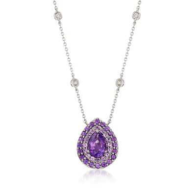 Gregg Ruth 1.60 ct. t.w. Amethyst and Diamond Necklace in 18kt White Gold    , , default