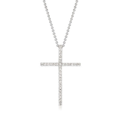 C. 1990 Vintage .32 ct. t.w. Diamond Cross Pendant Necklace in 18kt White Gold