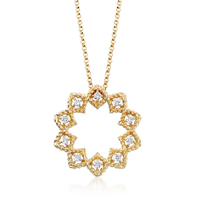 "Roberto Coin ""Barocco"" .22 ct. t.w. Diamond Medium Open Starburst Pendant Necklace in 18kt Yellow Gold"