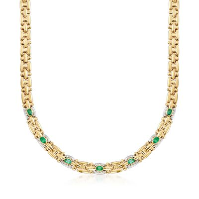 C. 1990 Vintage 2.80 ct. t.w. Emerald and .45 ct. t.w. Diamond Link Necklace in 18kt Two-Tone Gold