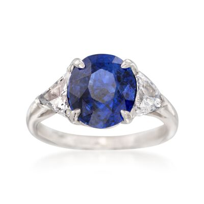 C. 1990 Vintage 2.90 Carat Sapphire and .90 ct. t.w. Diamond Ring in Platinum, , default