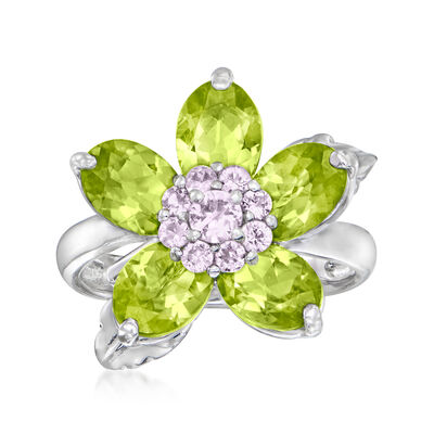 C. 1990 Vintage 4.50 ct. t.w. Peridot Flower Ring with .35 ct. t.w. Pink Sapphires in 14kt White Gold