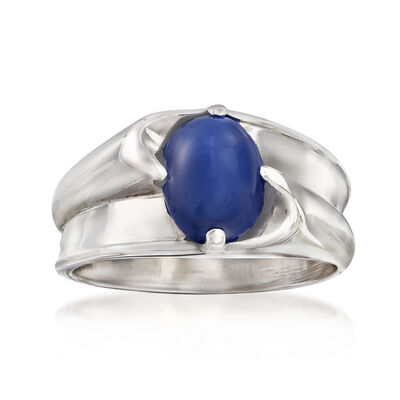 C. 1970 Vintage Men's Synthetic Sapphire Ring in 14kt White Gold