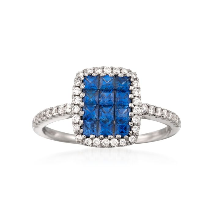 Gregg Ruth .73 ct. t.w. Sapphire and .26 ct. t.w. Diamond Ring in 18kt White Gold, , default