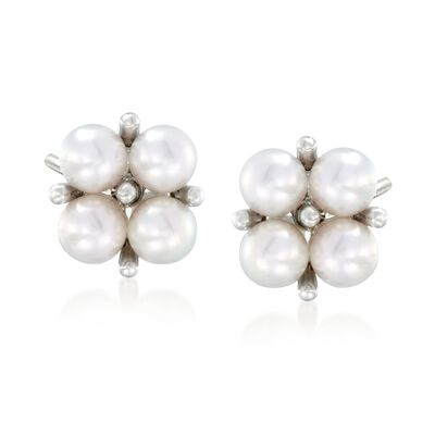 Mikimoto 3.25mm A+ Akoya Pearl Cluster Earrings in 18kt White Gold, , default