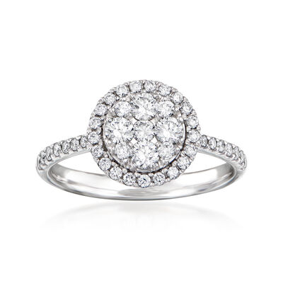 C. 1990 Vintage .75 ct. t.w. Diamond Cluster Ring in 18kt White Gold