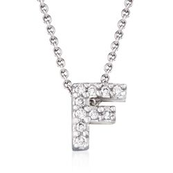 "Roberto Coin ""Tiny Treasures"" Diamond Accent Initial ""F"" Necklace in 18kt White Gold, , default"