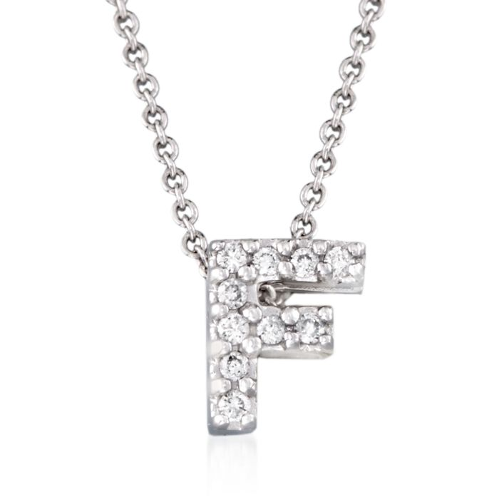 "Roberto Coin Tiny Treasures Diamond F Necklace in 18-Karat White Gold. 16"", , default"