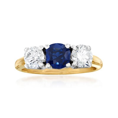 C. 1980 Vintage .95 ct. t.w. Diamond and .65 Carat Sapphire Ring in 14kt Yellow Gold with Platinum, , default