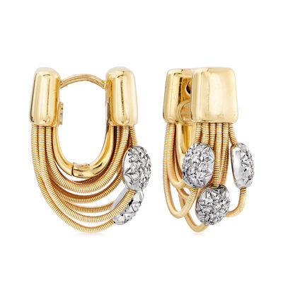 C. 1980 Vintage Marco Bicego .60 ct. t.w. Diamond Cabled Hoop Earrings in 18kt Yellow Gold