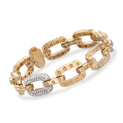 "Roberto Coin ""Pois-Moi"" .90 ct. t.w. Diamond Dotted Link Bracelet in 18kt Yellow Gold, , default"