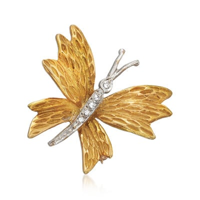 C. 1980 Vintage Tiffany Jewelry 18kt Yellow Gold Butterfly Pin with Diamond Accents