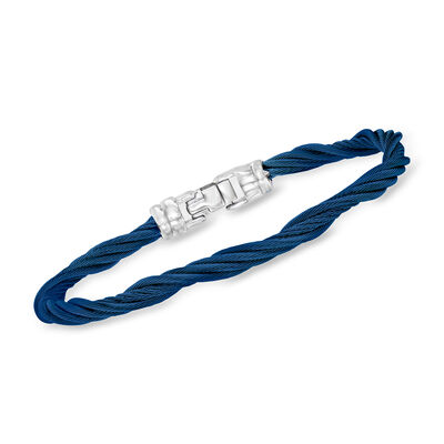 ALOR Blue Stainless Steel Twisted Cable Bracelet