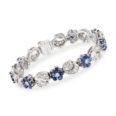 C. 1960 Vintage 5.00 ct. t.w. Sapphire and 3.25 ct. t.w. Diamond Floral Bracelet in Platinum, , default