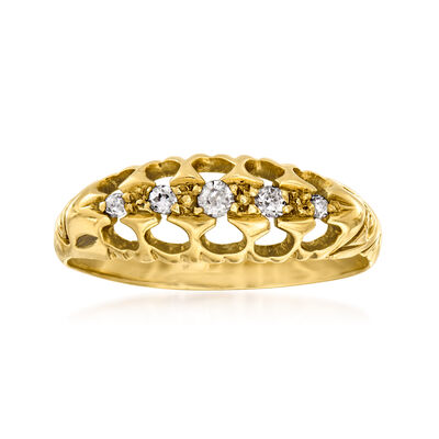 C. 1913 Vintage .10 ct. t.w. Diamond Ring in 18kt Yellow Gold with English Hallmark