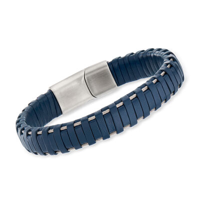 ALOR Men's Blue Leather and Stainless Steel Bracelet with Magnetic Clasp