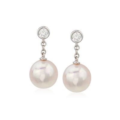 Mikimoto 8-8.5mm A+ Akoya Pearl Earrings with Diamonds in 18kt White Gold, , default