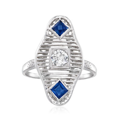 C. 1930 Vintage .25 Carat Diamond Ring with .40 ct. t.w. Synthetic Sapphires in 18kt White Gold