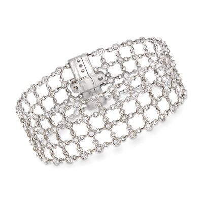 C. 1990 Vintage 3.90 ct. t.w. Diamond Mesh-Style Bracelet in 18kt White Gold, , default
