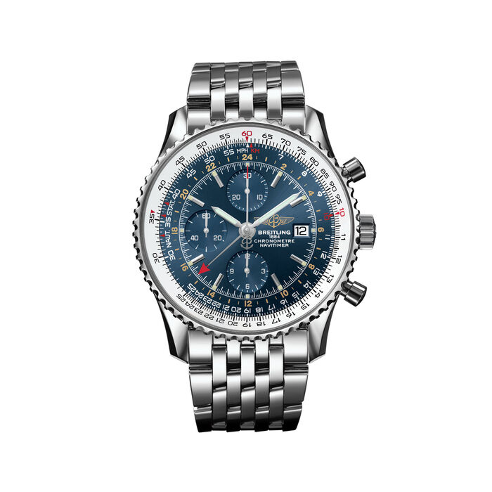 Breitling Navitimer Men's 46mm Stainless Steel Watch - Blue Dial, , default