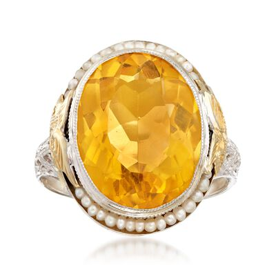 C. 1950 Vintage 8.50 Carat Citrine and Cultured Seed Pearl Ring in 14kt Two-Tone Gold