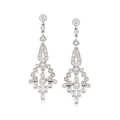 C. 1990 Vintage 1.75 ct. t.w. Diamond Deco-Style Drop Earrings in Platinum, , default