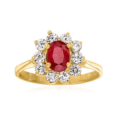 C. 1980 Vintage .85 Carat Ruby and .60 ct. t.w. Diamond Ring in 18kt Yellow Gold