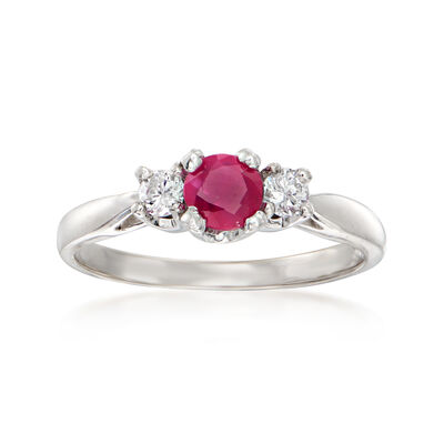 C. 1990 Vintage .35 Carat Ruby Ring with .15 ct. t.w. Diamonds in 14kt White Gold