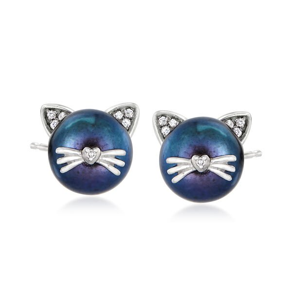 8-8.5mm Black Cultured Pearl Cat Earrings with Diamond Accents in Sterling Silver. #928396