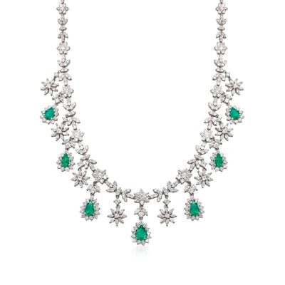 C. 1980 Vintage 3.85 ct. t.w. Emerald and 17.25 ct. t.w. Diamond Necklace in 18kt White Gold, , default