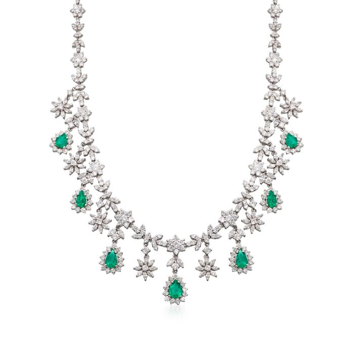 "C. 1980 Vintage 3.85 ct. t.w. Emerald and 17.25 ct. t.w. Diamond Necklace in 18kt White Gold. 16.5"", , default"