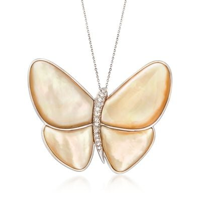 C. 1980 Vintage Champagne Mother-Of-Pearl and Diamond Butterfly Pin Pendant Necklace in 14kt and 18kt Gold, , default