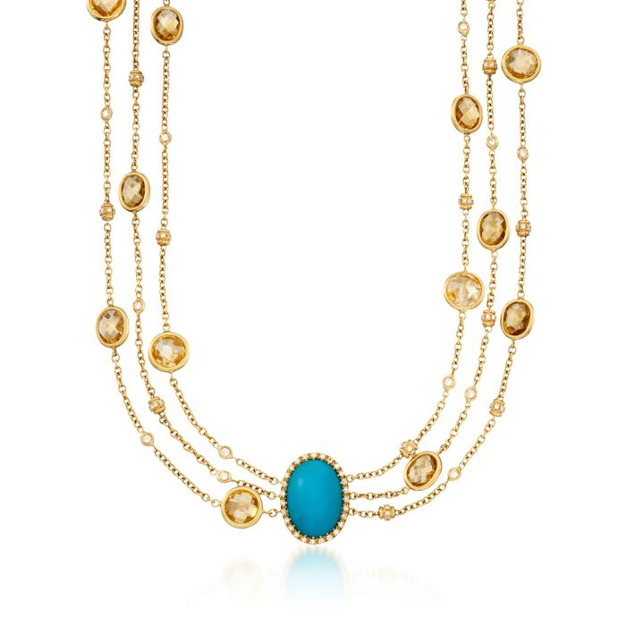 1.70-Carat Turquoise, 31.39 Carat Total Weight Citrine and 1.70 Carat Total Weight Necklace in 18-Karat Yellow Gold . 16""